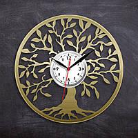 Дерево семьи Часы в цвете золота Круглые часы Дерево Жизни Часы виниловые Декор на стену Часы в холл 300 мм