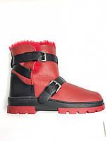 Чобітки зимові шкіряні хутро червоні. Сапоги зимние женские кожаные мех красные.