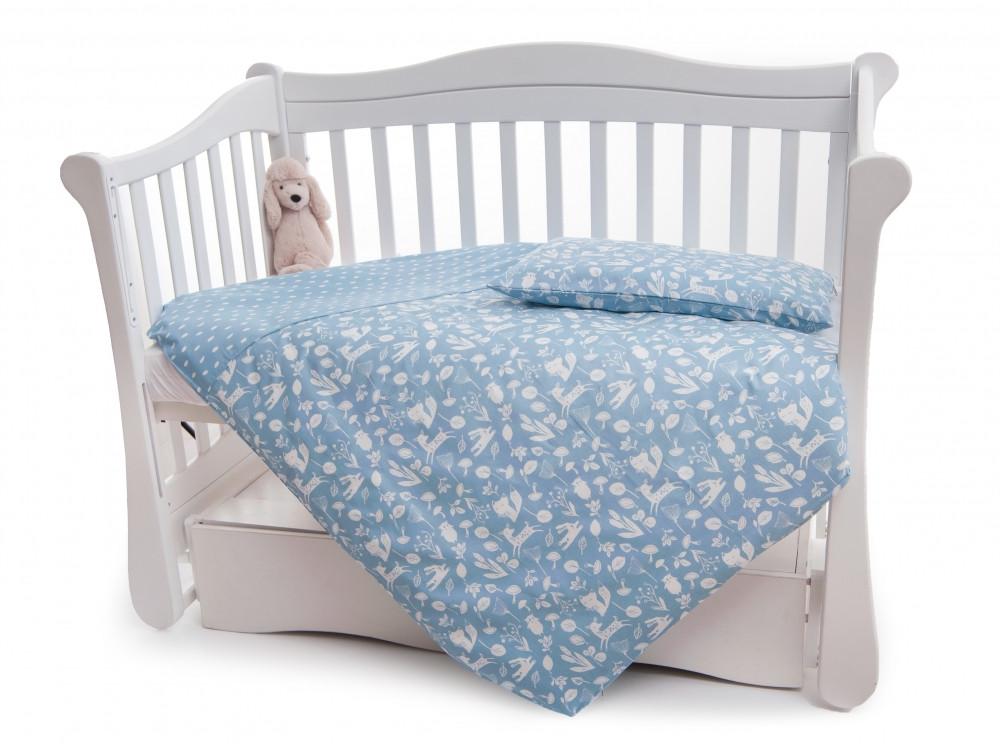 Сменная постель Twins Dolce Лесные жители D-011 синий (пододеяльник, наволочка, простыня)