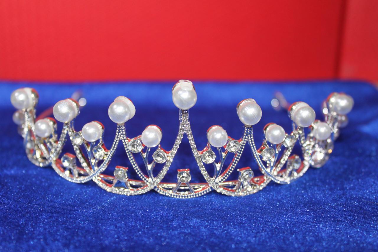 Ажурная серебряная большая корона тиара с белыми жемчужинами и белыми камнями горный хрусталь для невест