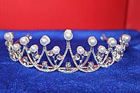 3 Ажурная серебряная большая корона тиара с белыми жемчужинами и белыми камнями горный хрусталь для невест