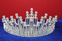 Роскошная серебряная большая корона тиара с белыми жемчужинами и белыми камнями для торжественных мероприятий