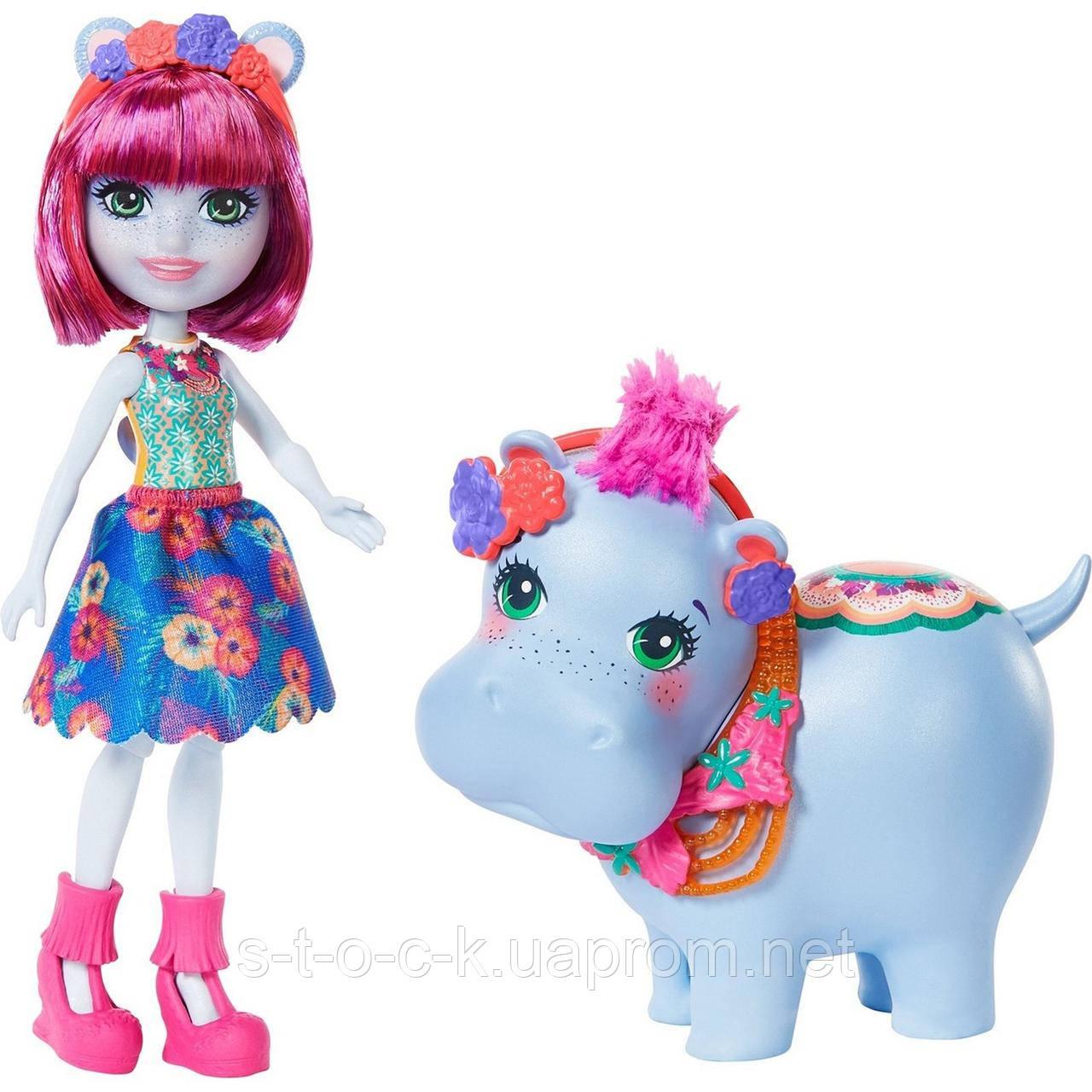 Набор Enchantimals с большими зверюшками Гедда Гиппо и Лейк GFN56.Mattel