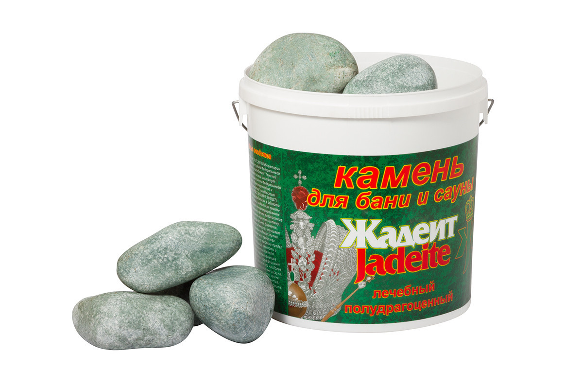 Камни для бани Хакасинтерсервис жадеит шлифованный средний 20 кг