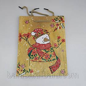 """Подарочный пакет картонный с ручками """"Снеговичок"""" S"""