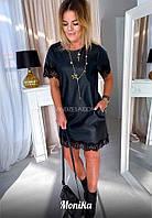 Короткое чёрное платье из эко кожи с кружевом снизу и на рукавах (42-48), фото 1