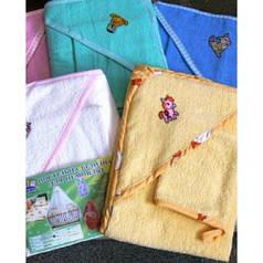 Детское полотенце уголок 80х80 с капюшоном и рукавичка для купания