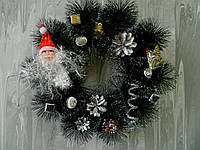Різдв'яний вінок срібний з дідом морозом 35 см Рождественский  венок с дедом мором