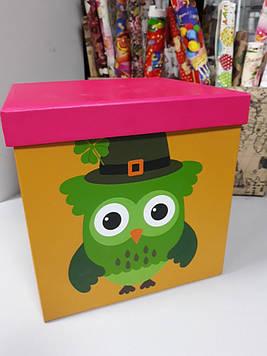Подарочная коробочка детская с рисунком сова яркая 22 см