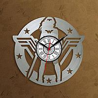 Удивительная Женщина Виниловые часы Часы супергероя Wonder Woman Виниловые часы Часы в цвете серебра