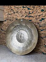 Тарелка декор настенная металическая золотая XXL