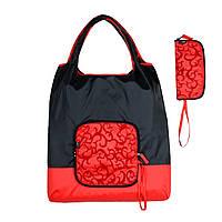 Складная хозяйственная сумка тканевая эко сумка шоппер для покупок красно-синяя 40x60см