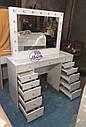 Стол визажиста с витриной на столешнице, гримерный столик, зеркало с подсветкой, белый, фото 2
