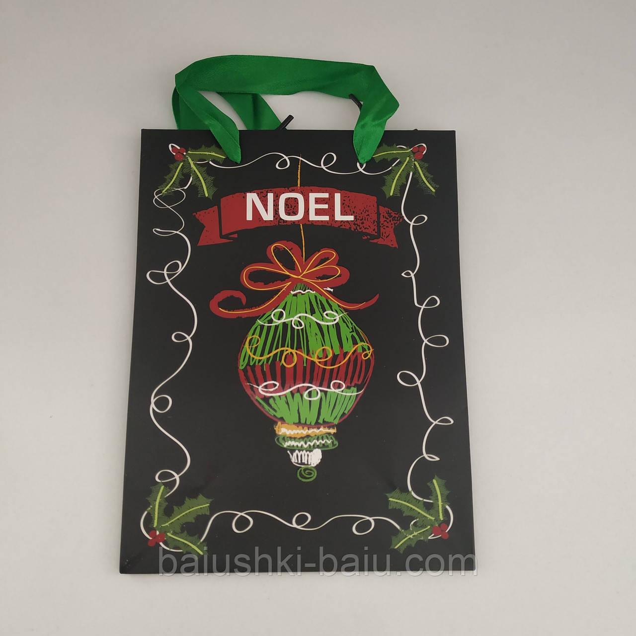 """Подарочный пакет картонный с ручками """"Новогодний"""" S"""