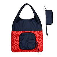 Складная хозяйственная сумка тканевая эко сумка шоппер для покупок сине-красная 40x60см