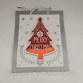 """Подарочный новогодний пакет картонный с ручками 3D """"Merry Christmas"""" M"""