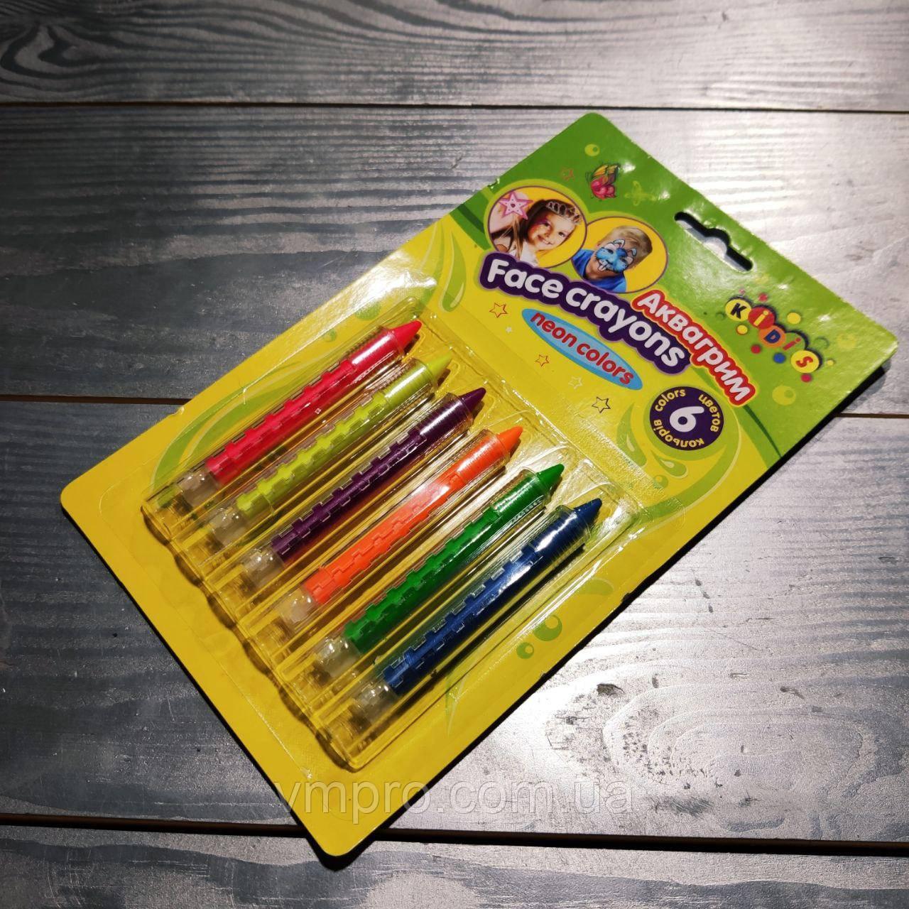 Краски для грима 6 цветов,неоновые,выдвижной карандаш,№7765,аквагрим,набор для творчества