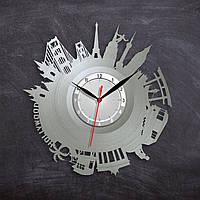 Большие города на часах  Часы в цвете серебра Часы с городами Путешествие по миру Декор в гостиную 300 мм