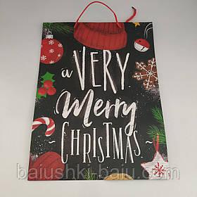 """Подарочный новогодний пакет картонный с ручками """"Very Merry Christmas"""" L"""