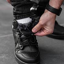 """Зимние кроссовки на меху Nike Air Jordan 1 Retro """"Черные"""", фото 2"""