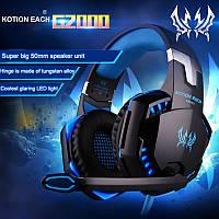 Kotion Each G2000 Компьютерные игровые наушники с микрофоном и синей подсветкой