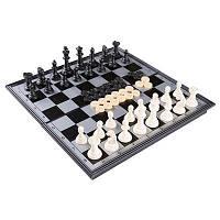 Шахматы, шашки, нарды 3 в 1  дорожные магнитные р-р доски 24 х 24 см, фото 1