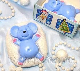 Мыло дизайнерское Мышка на снегу  символ 2020 года