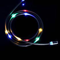 ✖Магнитный кабель Topk Z-line LED MicroUSB Black светящийся USB 1m для зарядки портативных устройств, фото 3