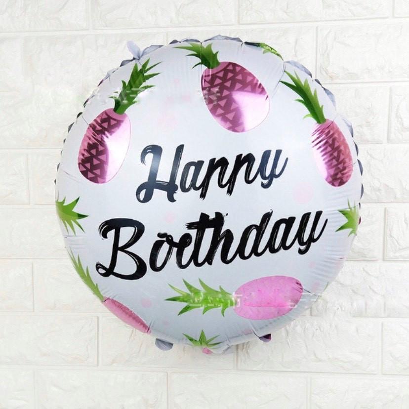 "Воздушный шар ""Happy Birthday"" с розовыми ананасами"