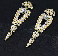 Изысканные свадебные серьги в золотом и серебряном цвете с жемчужинами белыми камнями горный хрусталь