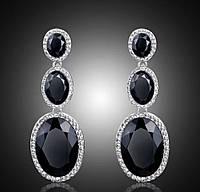 Роскошные вечерние серьги с белыми, синими, черными камнями горный хрусталь на праздник