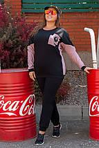 Спортивний костюм з трикотажу двухнитки - батник і штани, р. 48,50,52,54, код 3261Ф, фото 2