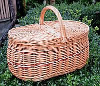 Плетений кошик з лози для пікніку на два відділення, фото 1