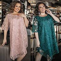 Платье женское, кружевное, большого размера, трапеция, нарядное, ассиметричное, свободное, до 58 р-раа, фото 1
