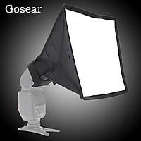 Розсіювач накамерне портативний софтбокс Gosear 20х30см на фотоспалах Canon Nikon