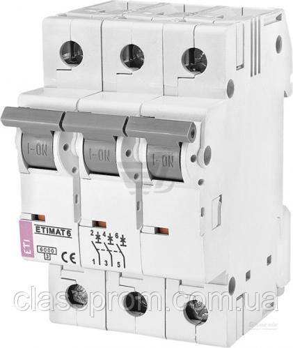 Автоматический выключатель ETIMAT 6 3p C 1A (6kA), ETI, 2145504