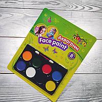 Краски для грима 8 цветов и кисточка,№7767,аквагрим,набор для творчества, фото 1