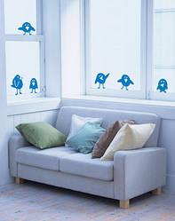 """Інтер'єрні наклейки на вікно """"Забавні пташки"""""""