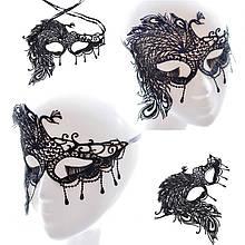 Кружевная маска на глаза  Жар Птица черная