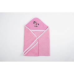 Детское полотенце уголок 70х70 с капюшоном для купания Розовое