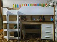 Кровать-горка Чердак-2 со шкафом и столом ЭВЕРЕСТ сонома + белый (193х96х137 см)