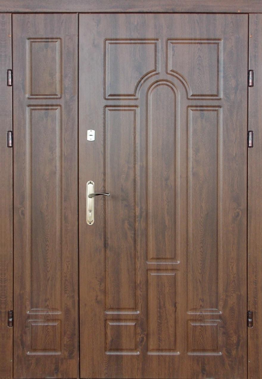 Двустворчатые, полуторные, входные двери Редфорт Арка винорит на улицу 120 см.