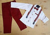Нарядный костюм для мальчика с бабочкой и подтяжками Турция р. 6, фото 1