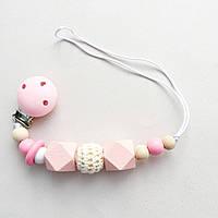 Цепочка деревянная с вязанным шариком (розовый), фото 1