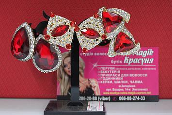 Оригінальні сережки з червоними каменями, стразами гірський кришталь для вечірки