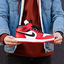 Зимние кроссовки на меху Nike Air Jordan 1 Royal Retro High Winter ( Красные / Белые ), фото 3
