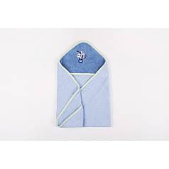 Детское полотенце уголок 70х70 с капюшоном для купания Голубое