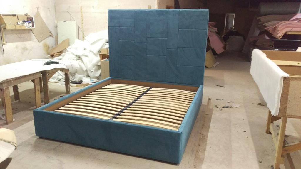 """Двоспальне ліжко """"Спарта"""" Хаотичні панелі, пінополіпропілен. 1"""