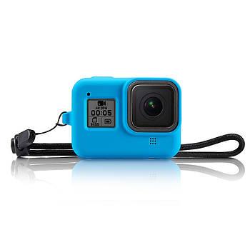 Силиконовый защитный чехол с ремешком на запястье для GoPro HERO8 Black синий