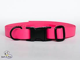 Ошейник из биотана, Розовый Малиновый, 25мм(с черным фастексом)